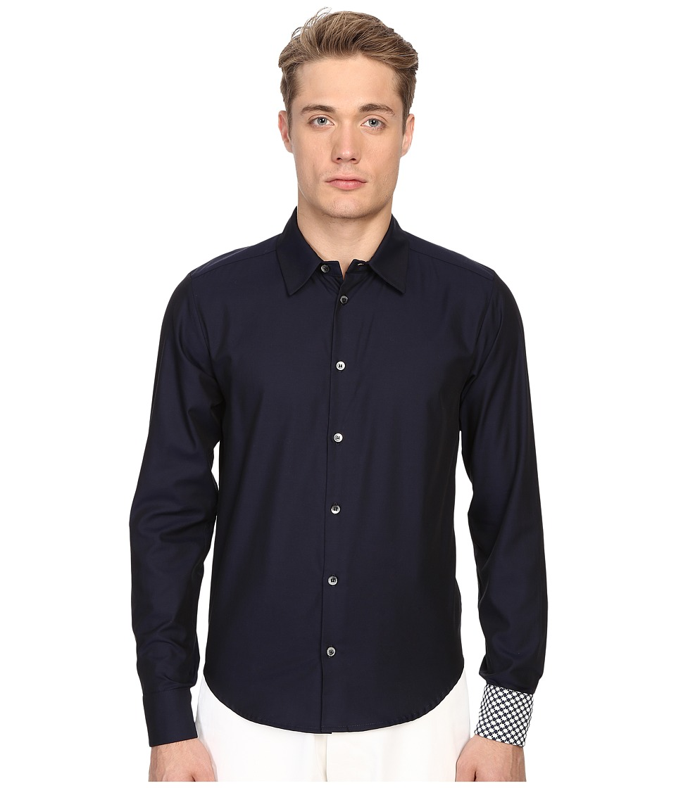 Mohsin Floral Jacquard Walton Shirt Navy Mens Long Sleeve Button Up
