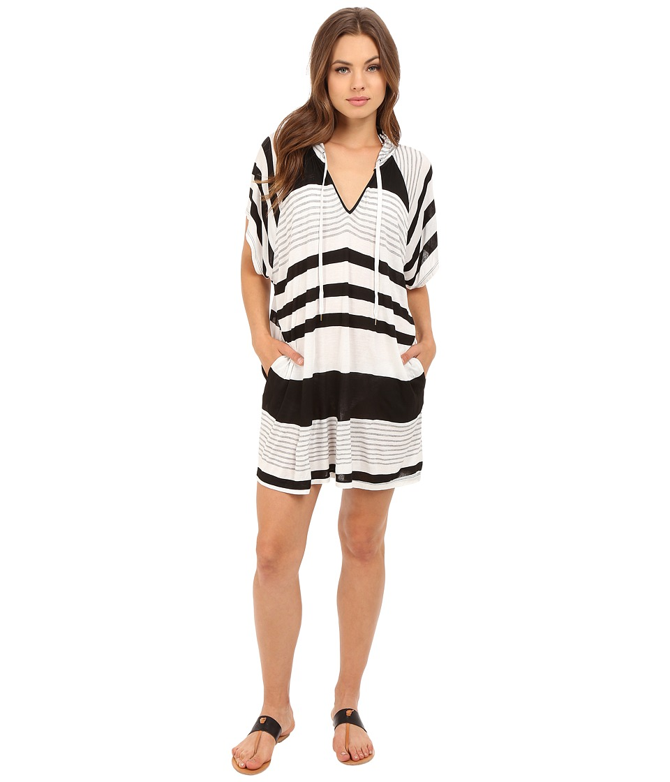 La Blanca Between The Lines Tunic Cover Up Black/White Womens Swimwear