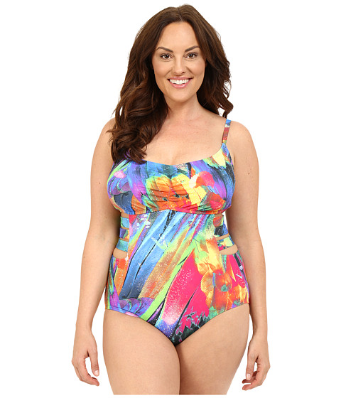 La Blanca - Plus Size Feathering Colors Over the Shoulder Mio One-Piece (Rainbow) Women's Swimsuits One Piece