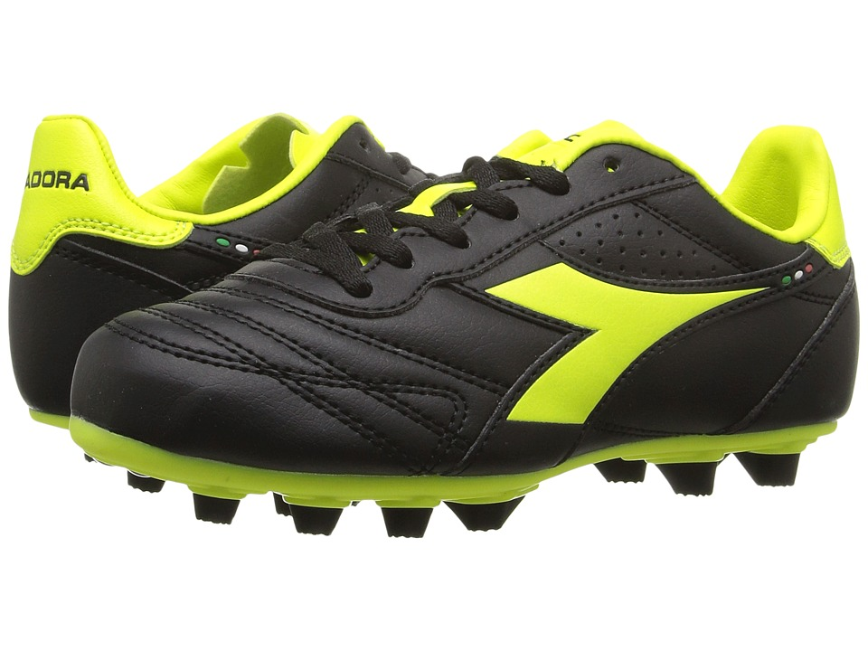 Diadora Kids - Brasil R MD PU JR Soccer (Little Kid/Big Kid) (Black/Yellow Flourescent) Kids Shoes