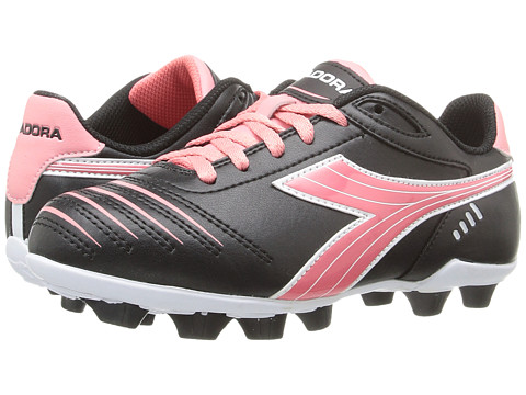 Diadora Kids Cattura MD JR Soccer (Toddler/Little Kid/Big Kid) - Black/Pink