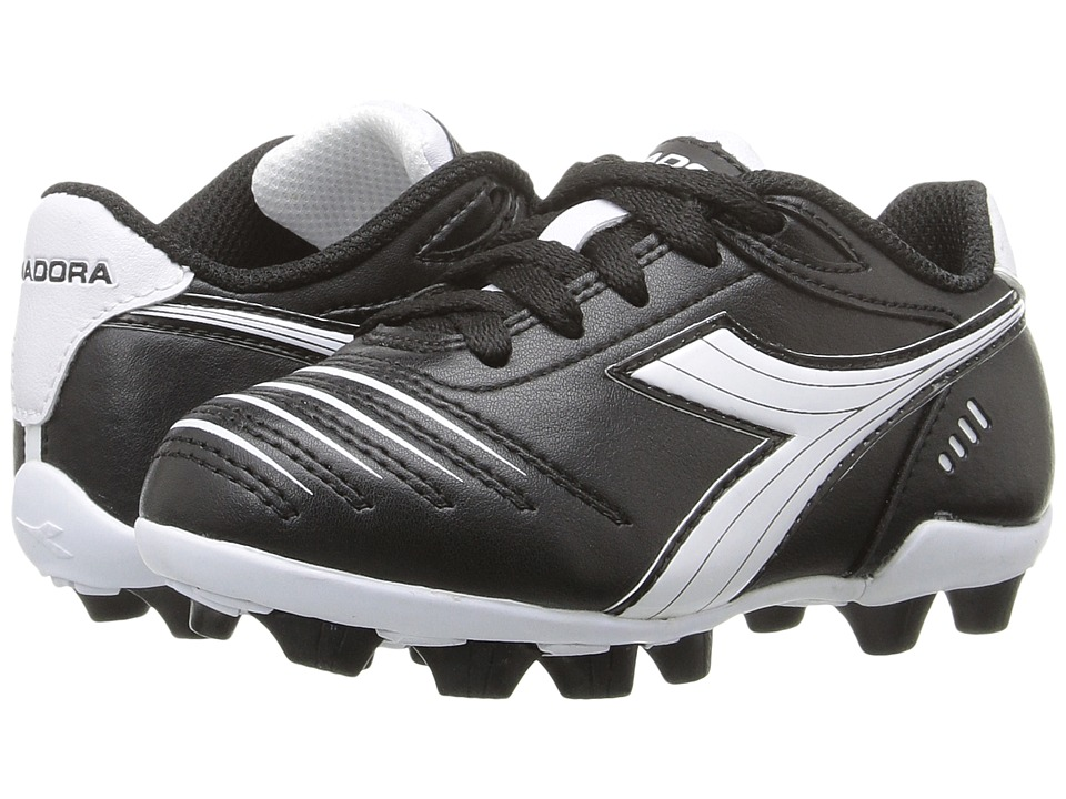 Diadora Kids - Cattura MD JR Soccer (Toddler/Little Kid/Big Kid) (Black/White) Kids Shoes