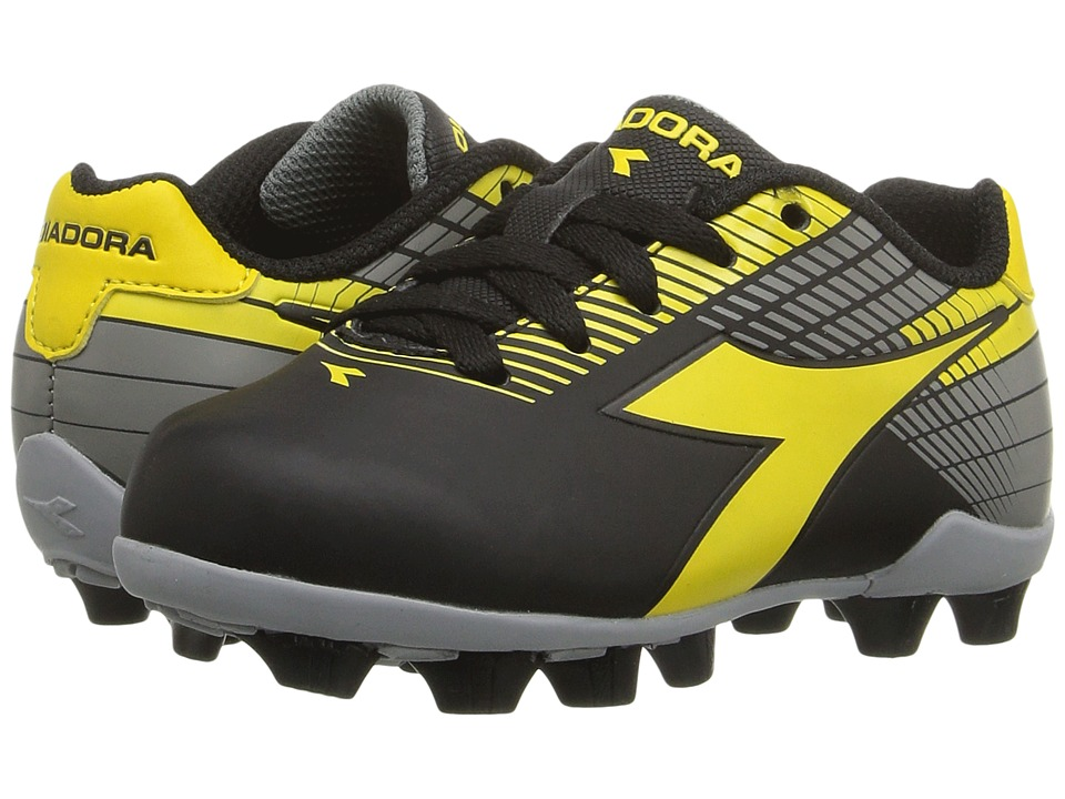 Diadora Kids - Ladro MD JR Soccer (Toddler/Little Kid/Big Kid) (Black/Yellow/Grey) Kids Shoes