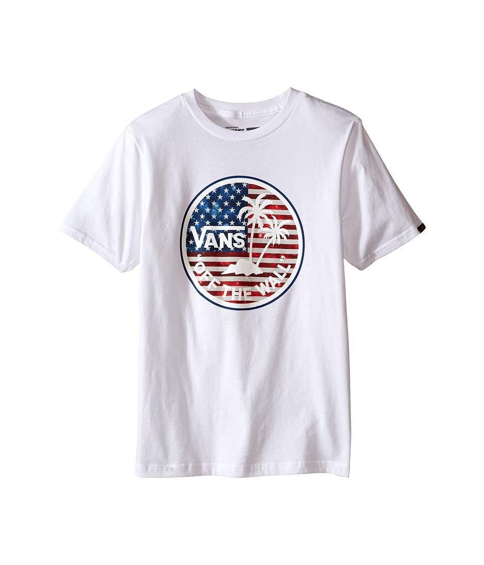 Vans Kids - Dual Palm Logo Fill T-Shirt (Big Kids) (White/Americana) Boy
