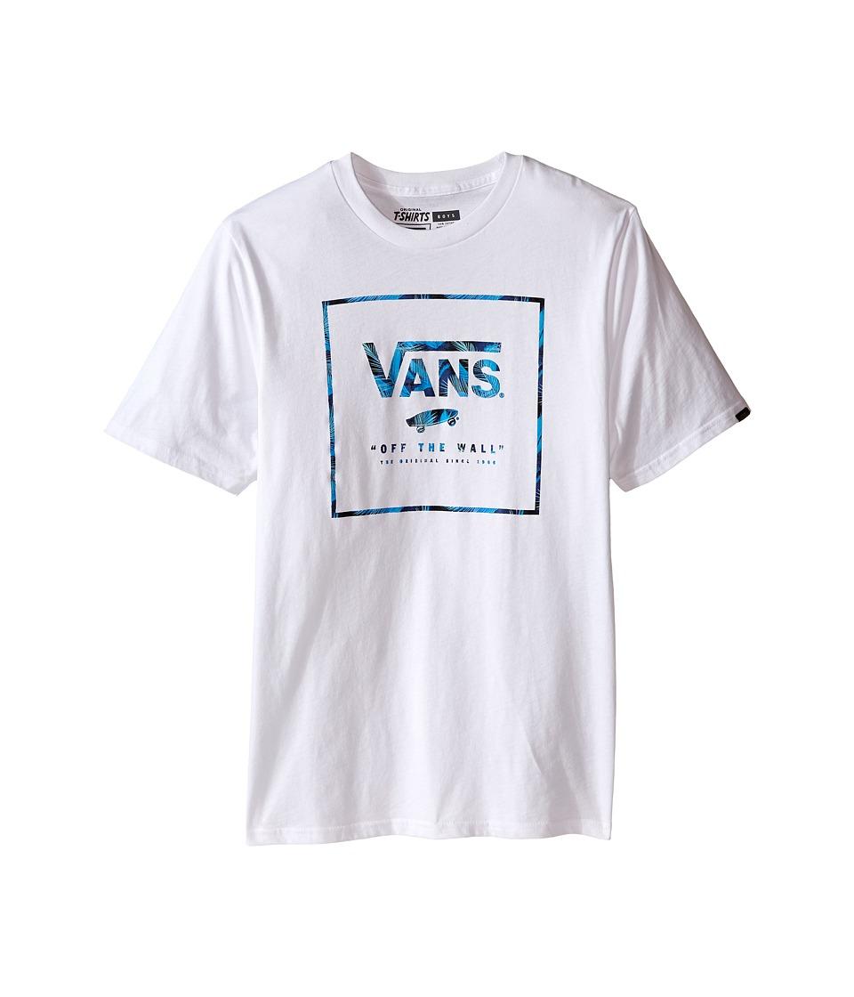 Vans Kids - Logo Box Fill (Big Kids) (White/Blueprint Acid Palm) Boy