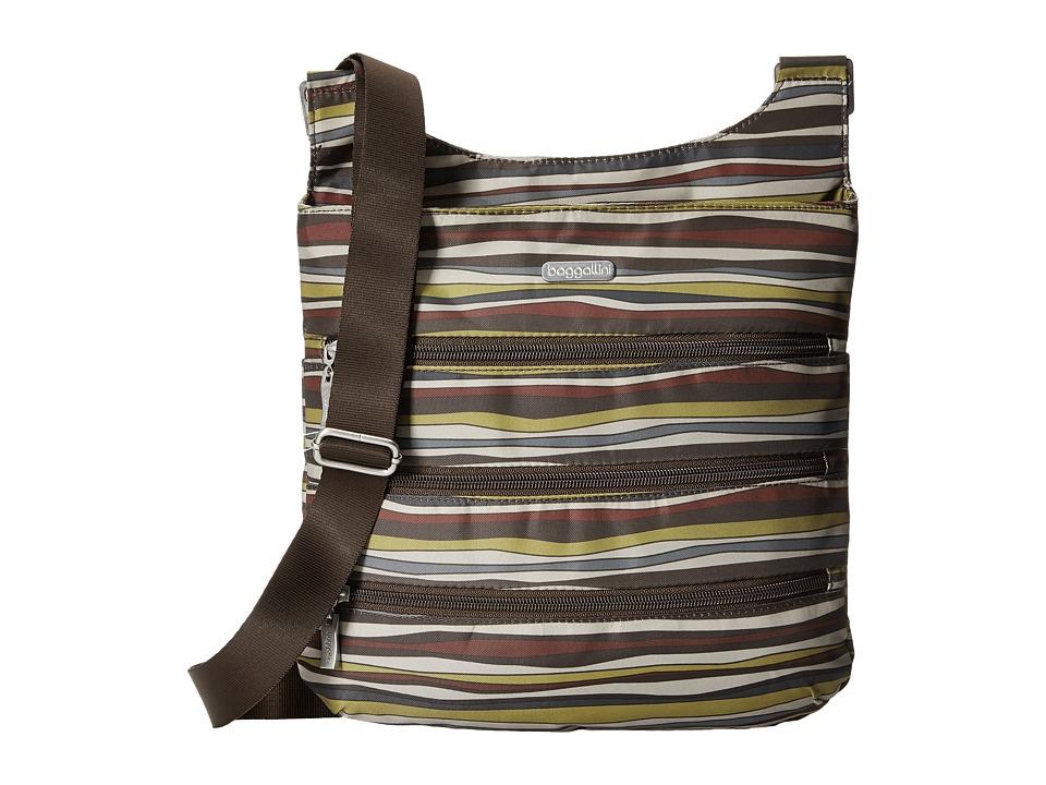 Baggallini - Big Zipper Bagg (Java Stripe) Cross Body Handbags
