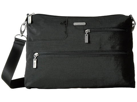Baggallini Tablet Crossbody - Black With Sand Lining