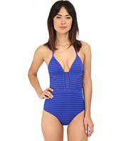 JETS by Jessika Allen - Parallels Plunging V-Neck One-Piece Swimsuit
