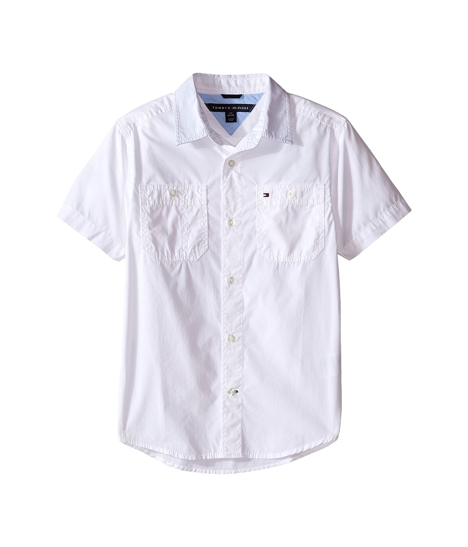 Tommy Hilfiger Kids Back Flag Short Sleeve Woven Shirt Big Kids White Boys Short Sleeve Button Up