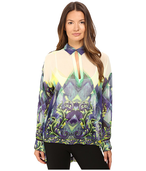 Versace Collection Long Sleeve Printed High-Low Blouse
