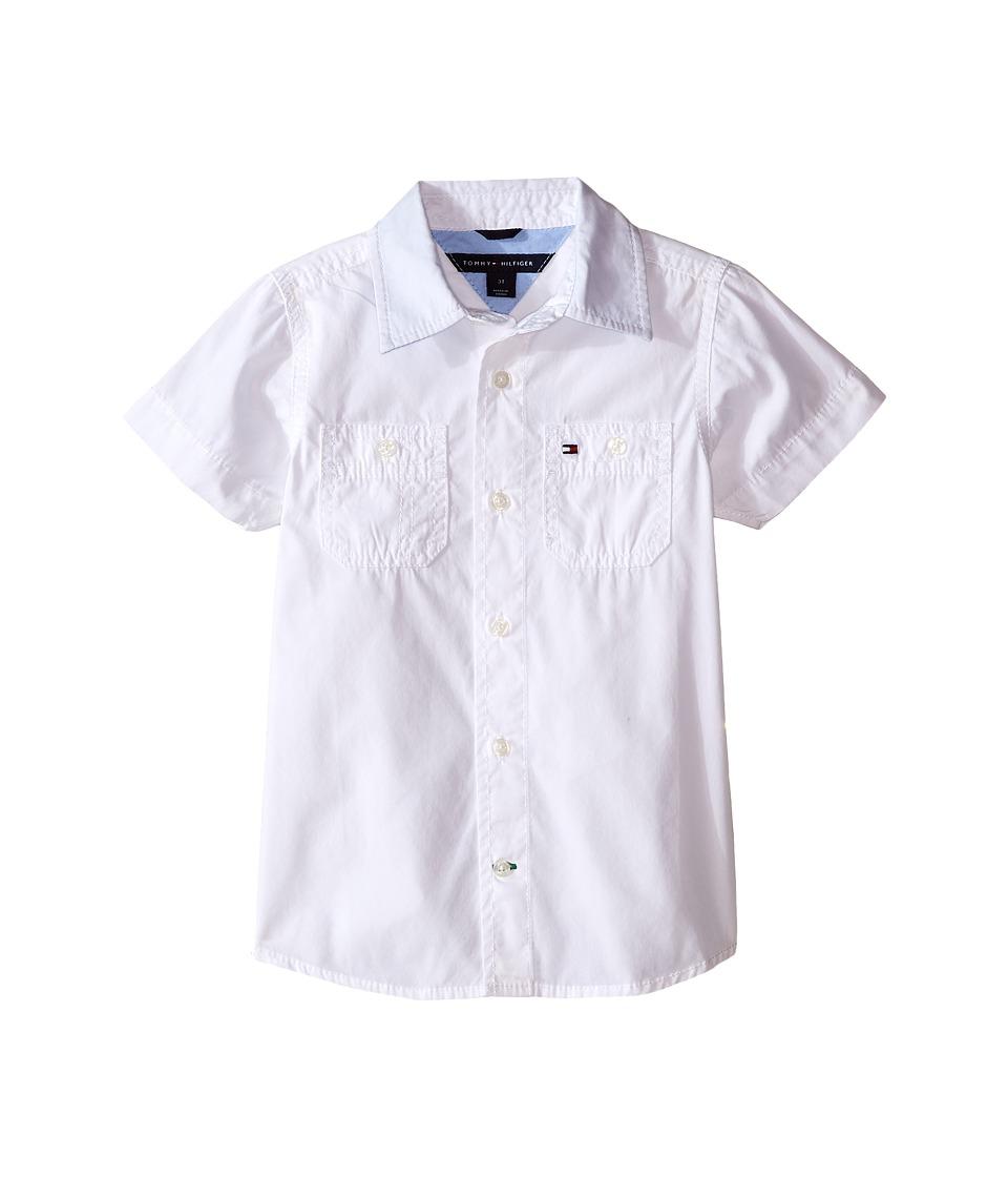 Tommy Hilfiger Kids Back Flag Short Sleeve Woven Shirt Toddler/Little Kids White Boys Short Sleeve Button Up