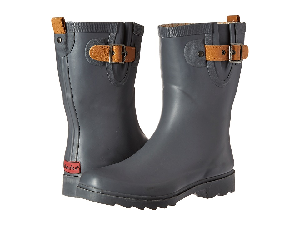 Chooka Top Solid Mid Rain Boot (Dark Gray) Women
