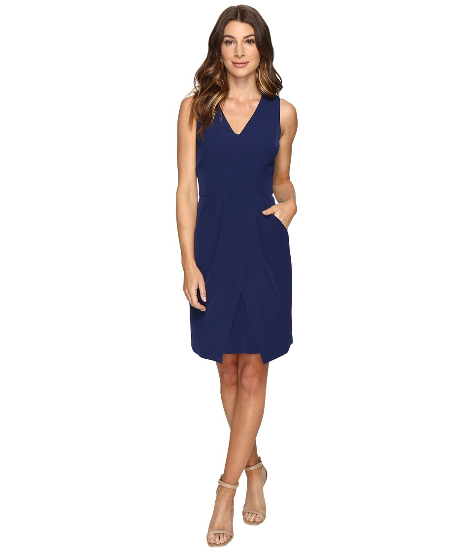Donna Morgan Crepe Dress w/ Tie Detail at Waist and Overlapping Skirt (Ink) Women