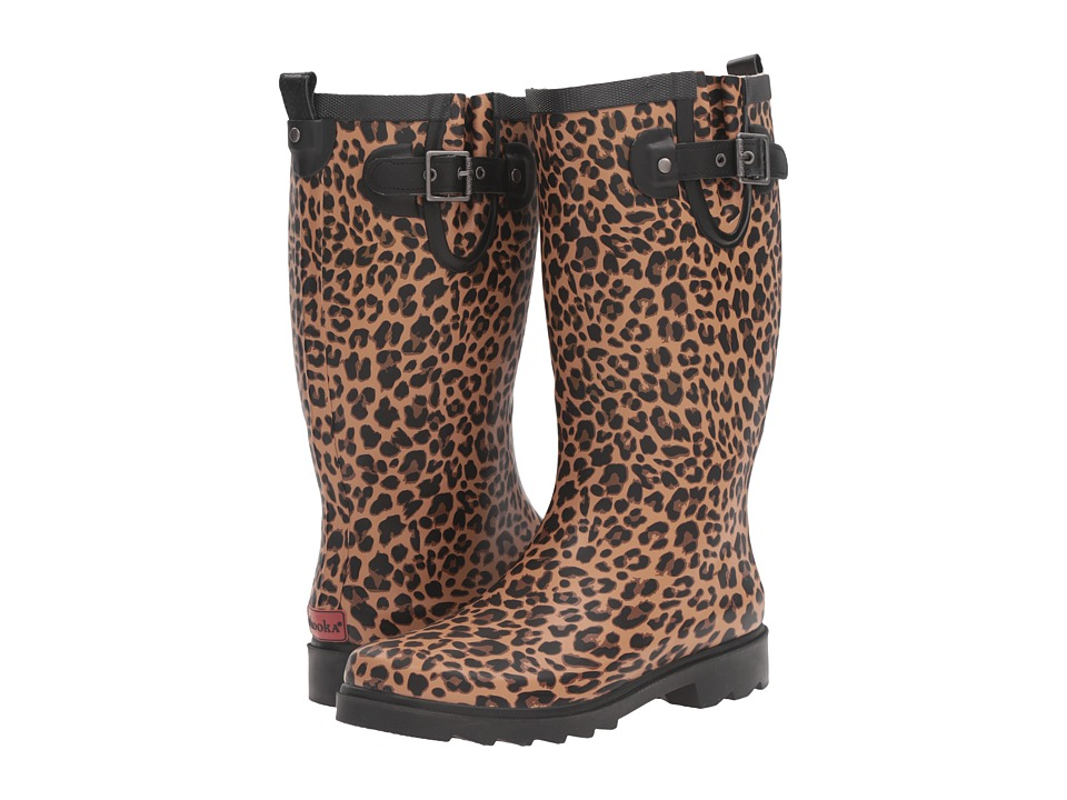 Chooka Lavish Leopard Rain Boot (Tan) Women