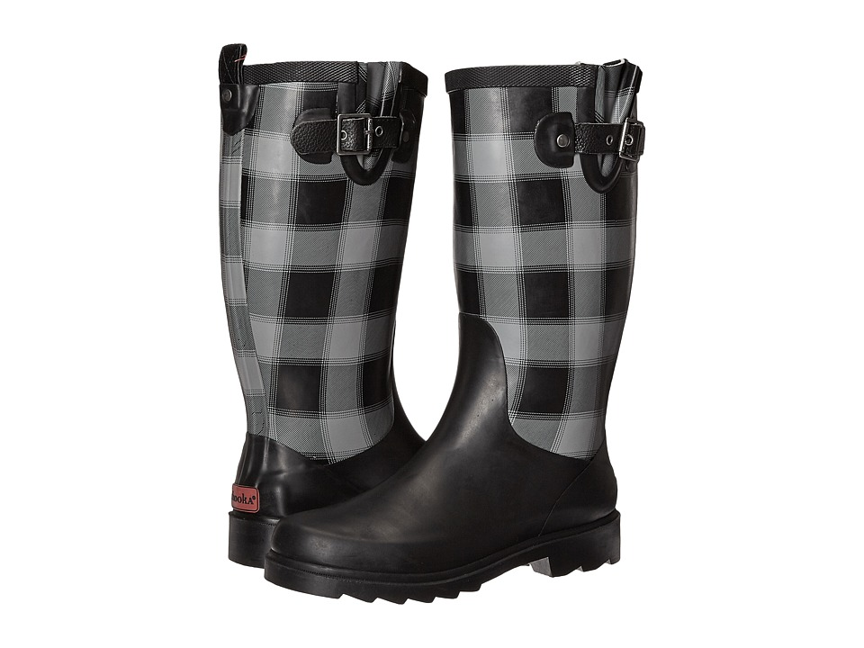 Chooka Lumber Buffalo Plaid Rain Boot (Charcoal) Women