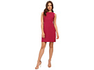 Donna Morgan Crepe Fit and Flare Dress with Faggoting (Currant)