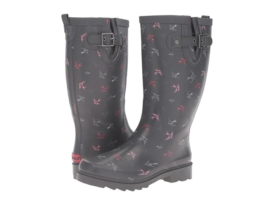 Chooka Spirited Sparrows Rain Boot (Gray) Women