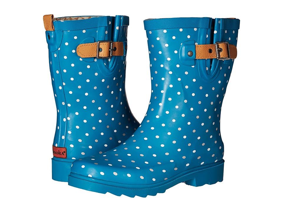 Chooka - Classic Dot Mid Rain Boot (Dark Teal) Women