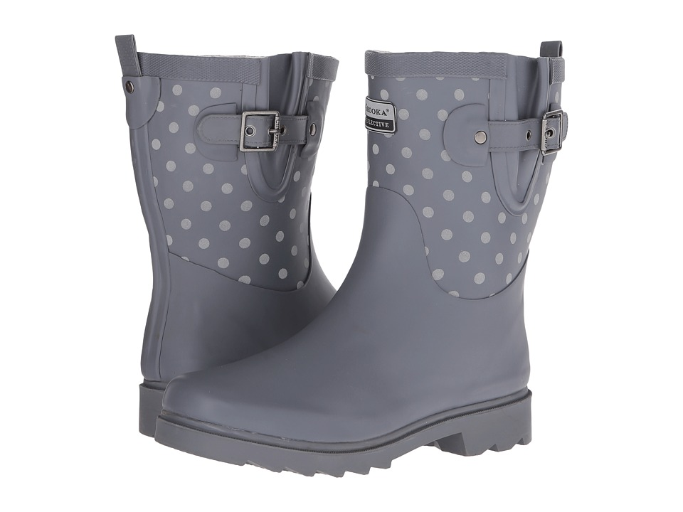 Chooka Flash Dot Mid Rain Boot (Charcoal) Women