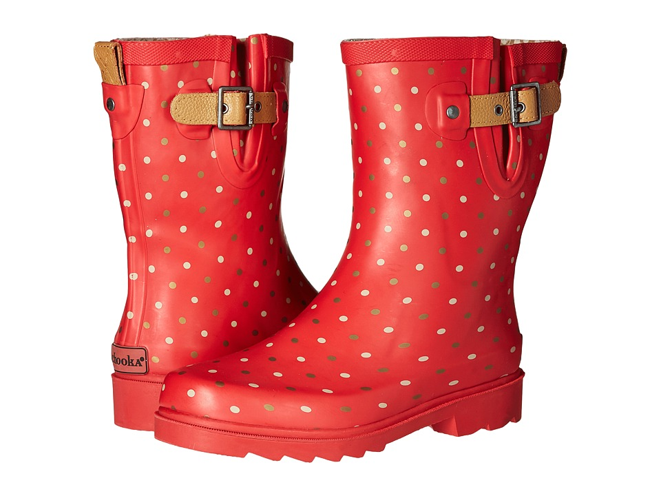 Chooka Classic Dot Mid Rain Boot (Red) Women