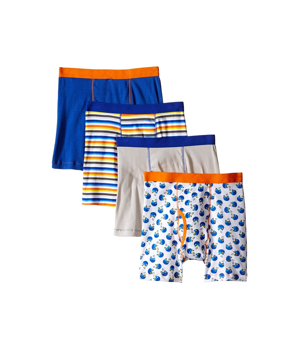 Trimfit Football Cotton Boxer Briefs 4 Pack Toddler/Little Kids/Big Kids Navy/Orange/Yellow/White Boys Underwear