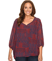 Stetson - Plus Size Native Patchwork V-Neck Blouse