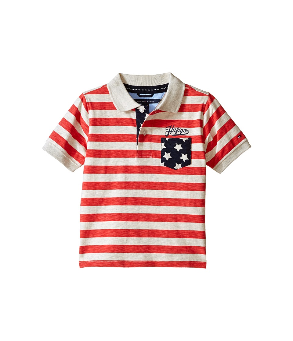 Tommy Hilfiger Kids Americana Short Sleeve Polo Toddler/Little Kids Red Geranium Boys Short Sleeve Knit