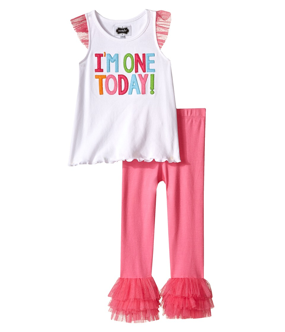 Mud Pie I Am One Tunic and Leggings Set Infant Pink Girls Active Sets