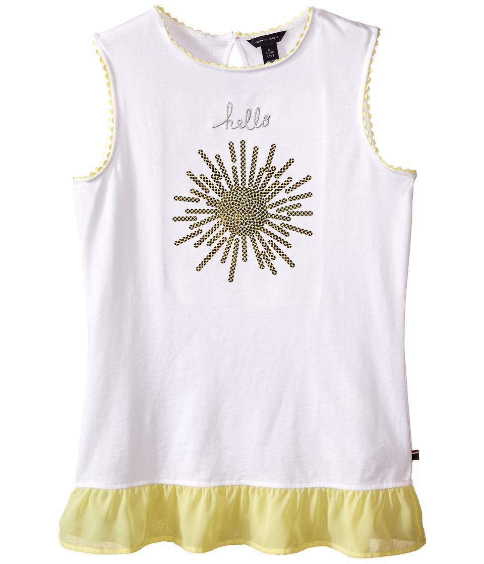 Tommy Hilfiger Kids Hello Sunshine Knit Top Big Kids White Girls Sleeveless