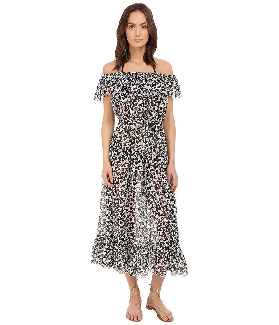 Marysia Victoria Dress Cover Up Black Hibiscus Print Womens Swimwear