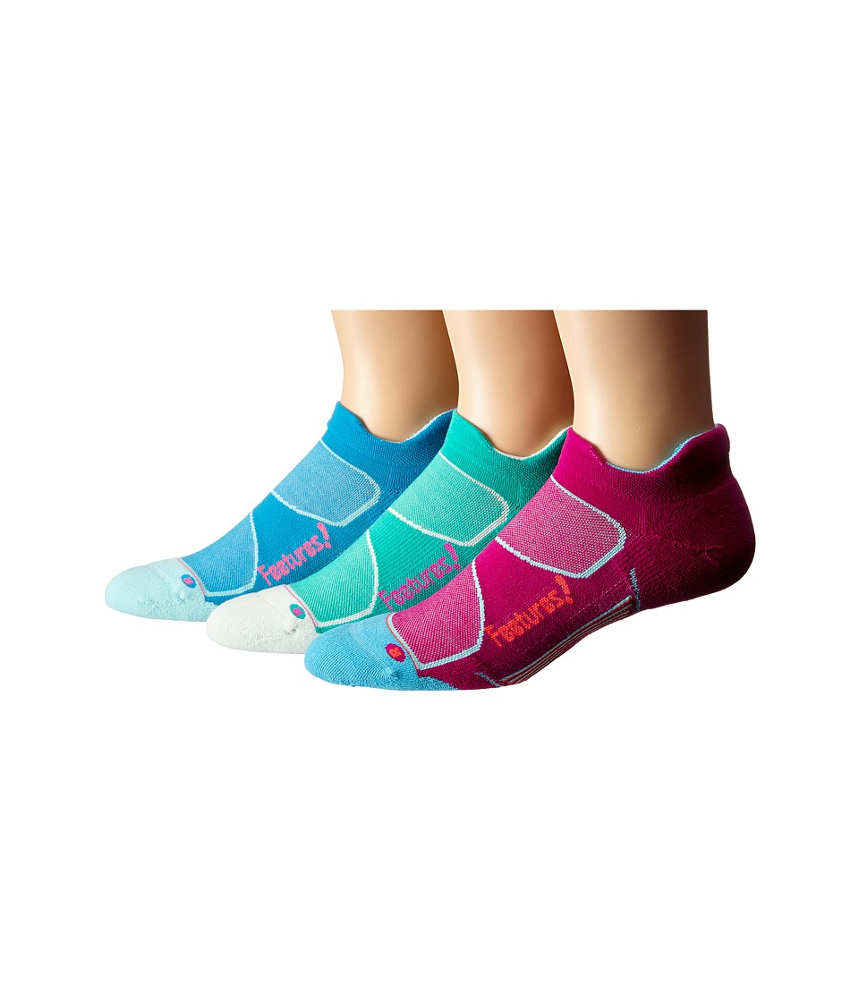Feetures Elite Max Cushion No Show Tab 3 Pair Pack Berry/Lava Atlantis/Fuchsia Hawaiian Blue/Electric Pink No Show Socks Shoes