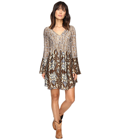 Stetson Steel Aztec Border Print Dress - Brown