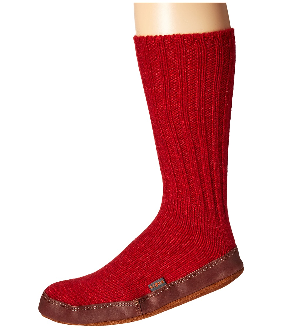 Acorn Slipper Sock (Crimson) Shoes