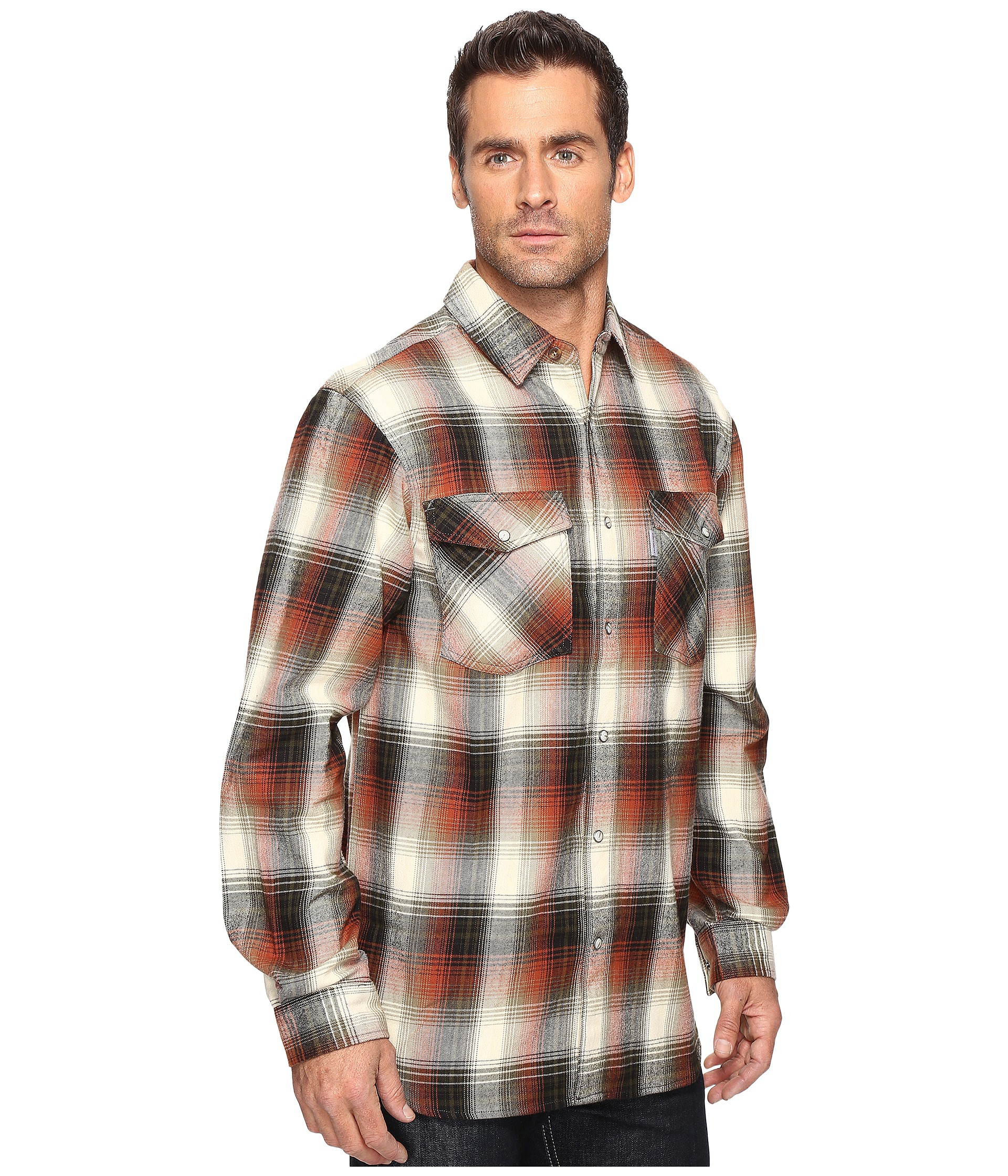 Carhartt trumball snap front plaid shirt free for Athletic cut flannel shirts