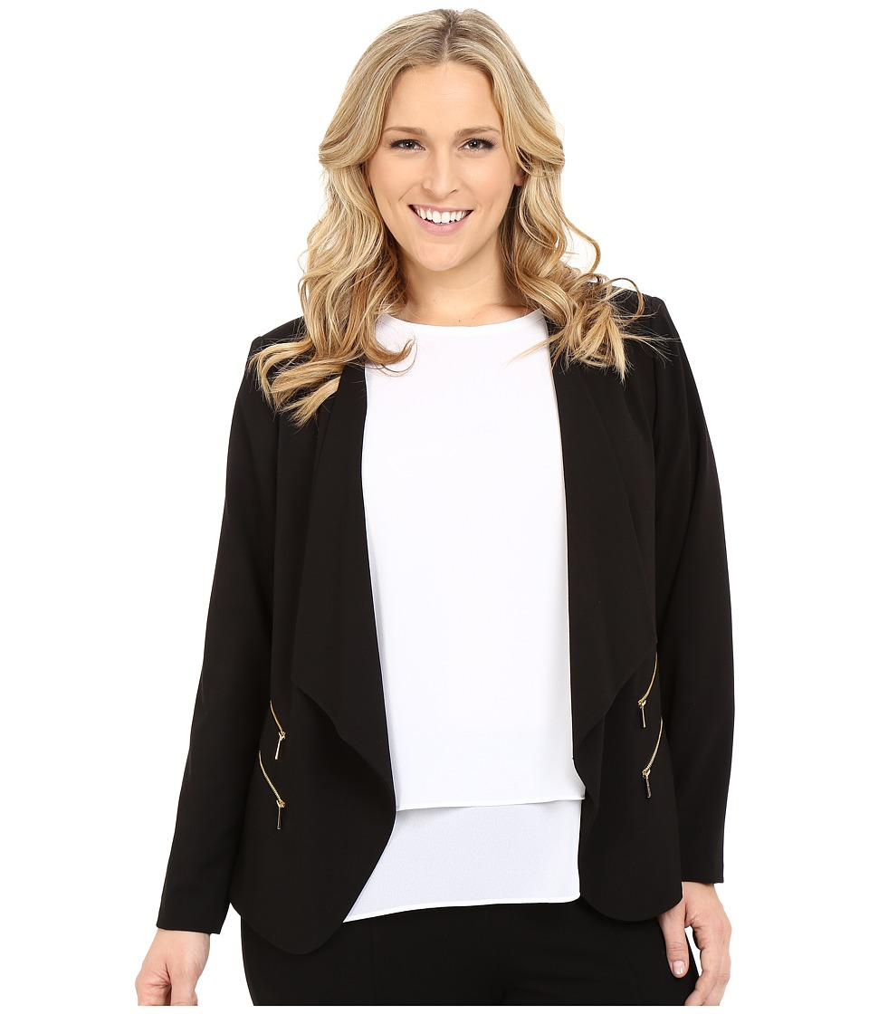 Calvin Klein Plus - Plus Size 2 Zipper Jacket w/ Fly Away (Black) Womens Jacket