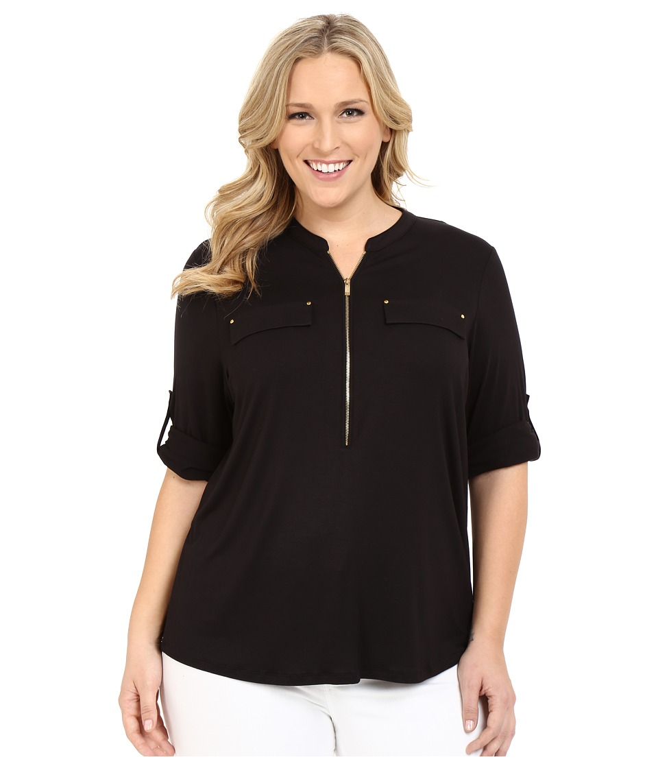 Calvin Klein Plus - Plus Size Zip Front Roll Sleeve (Black) Womens Blouse