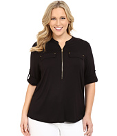 Calvin Klein Plus - Plus Size Zip Front Roll Sleeve