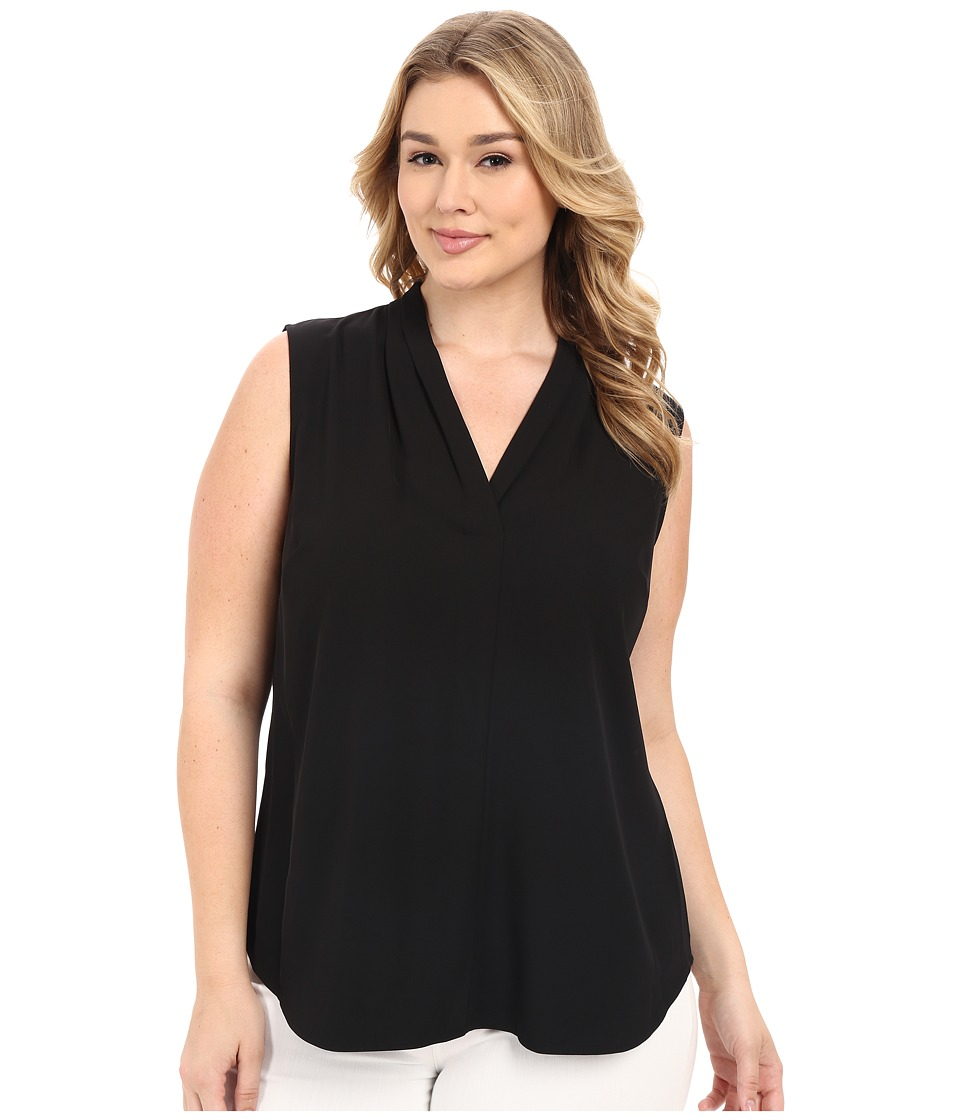 Calvin Klein Plus Plus Size Blouse w/ Inverted Pleat Black Womens Blouse