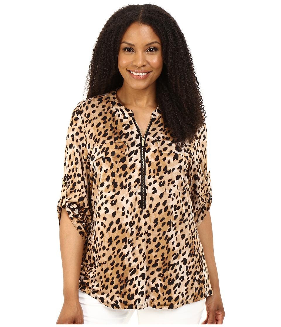 Calvin Klein Plus - Plus Size Print Zip Front Roll Sleeve Top