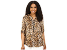 Plus Size Print Zip Front Roll Sleeve Top