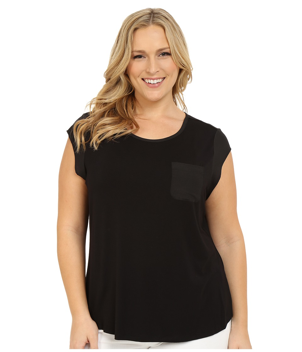 Calvin Klein Plus Plus Size T Shirt w/ One Pocket Black Womens Short Sleeve Pullover