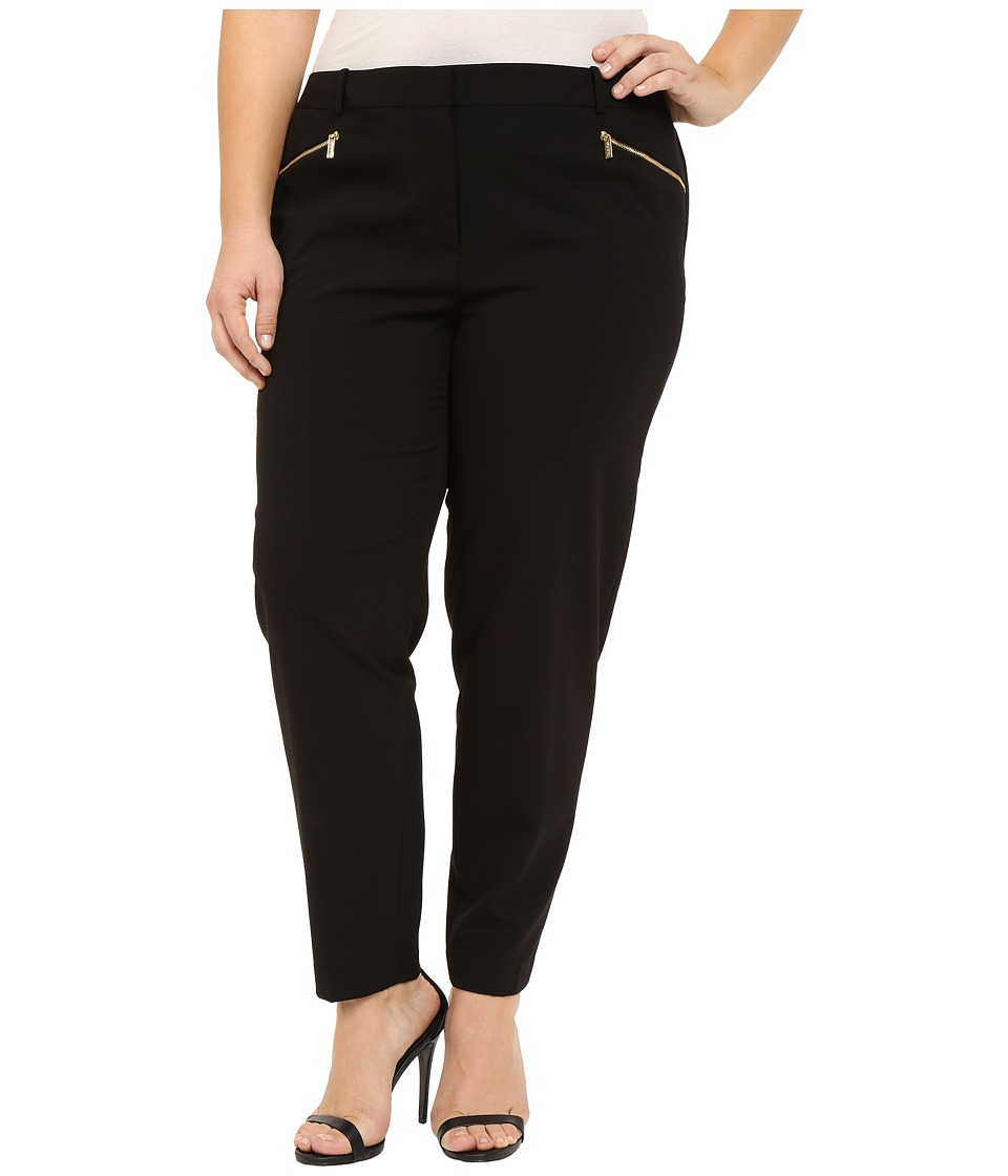 Calvin Klein Plus - Plus Size Skinny Pants with Zippers (Black) Womens Casual Pants