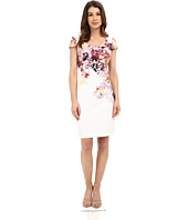 Sangria - Short Sleeve Floral Print Textured Knit Sheath
