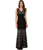 Sangria - V-Neck Lace & Shadow Pleat Evening Gown