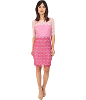 Sangria - 3/4 Sleeve Ombre Lace Sheath