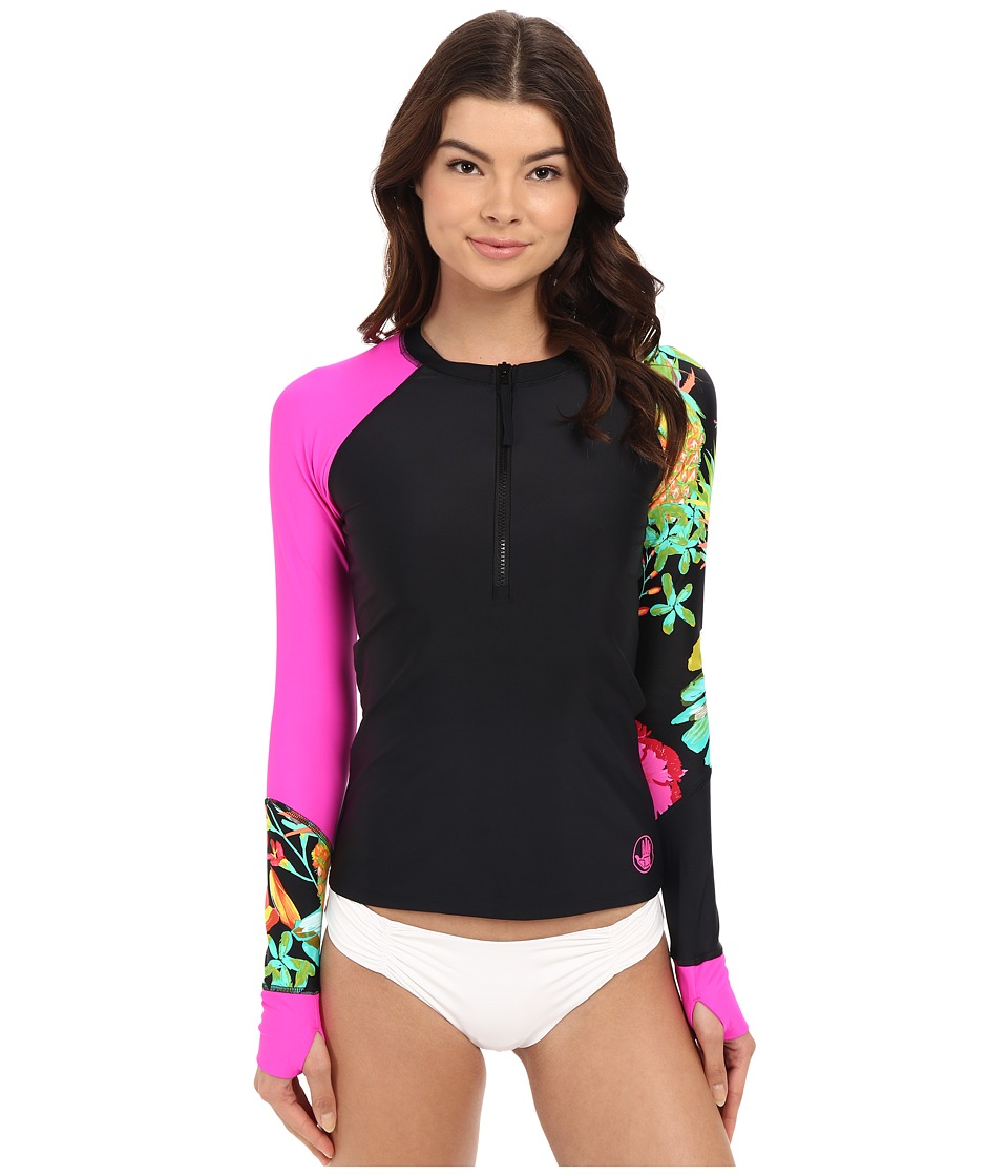 Body Glove Akela Sleek Zip Front Long Sleeve Rashguard Black Womens Swimwear