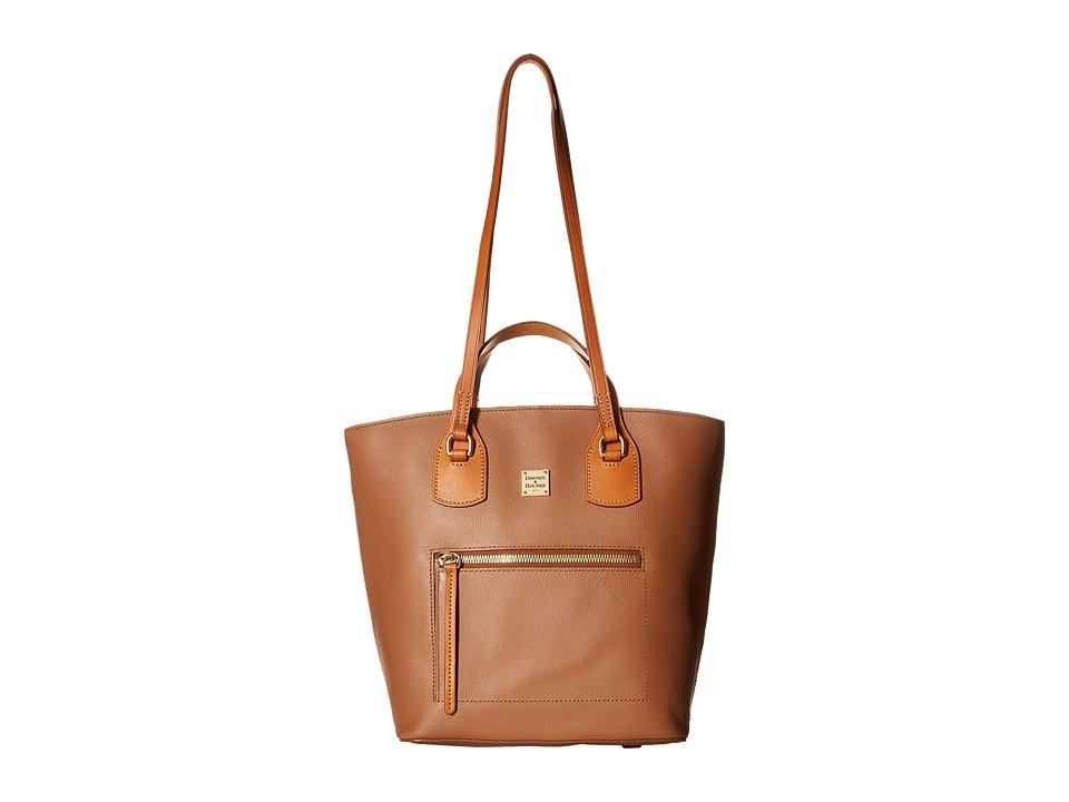 Dooney amp Bourke Raleigh Tara Shopper Saddle/Natural Trim Handbags