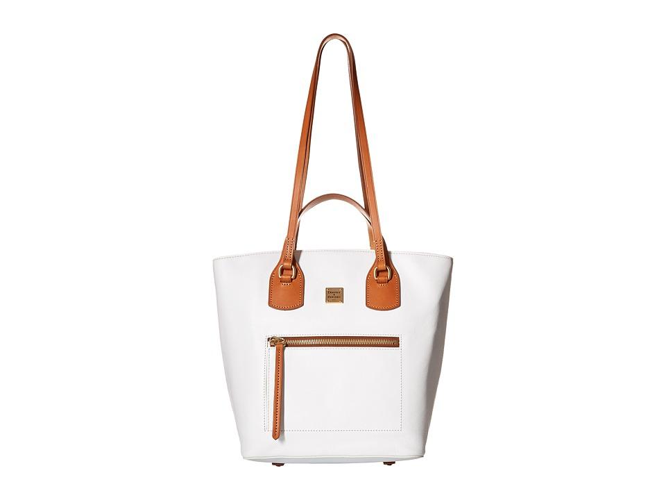 Dooney amp Bourke Raleigh Tara Shopper White/Natural Trim Handbags