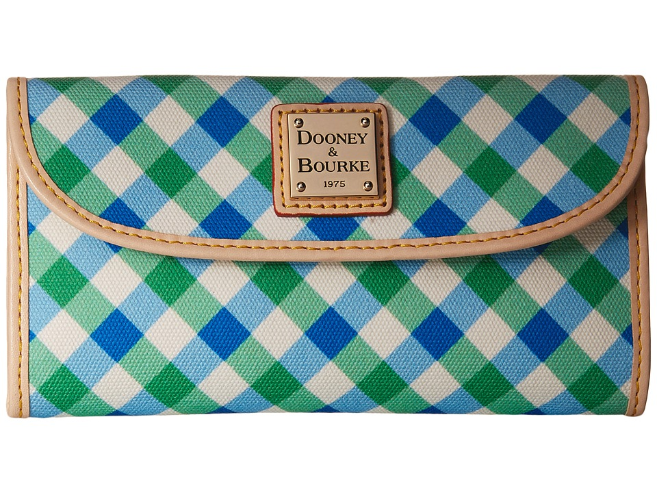 Dooney & Bourke - Elsie Continental Clutch (Blue/Green/Natural Trim) Clutch Handbags