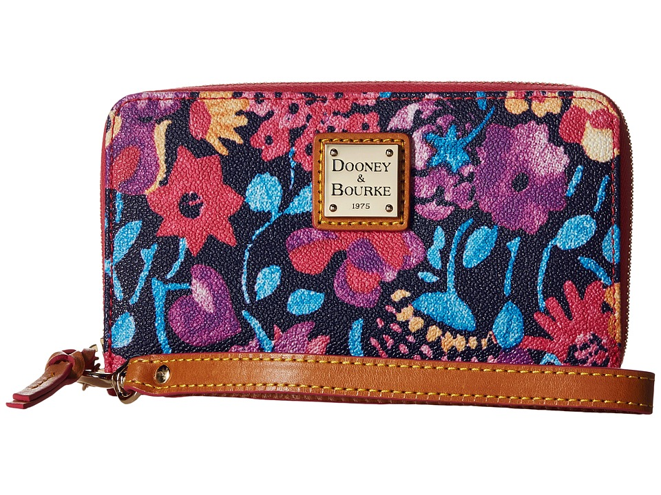 Dooney amp Bourke Marabelle Zip Around Phone Wristlet Black/Natural Trim Wristlet Handbags
